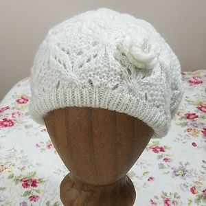 Lace hat with rhinestone detail